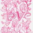 Stylish pink floral background with LOVE — Stock Vector