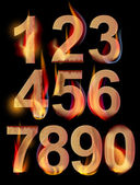 Burning numbers — Stock Vector