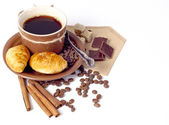 Coffee background with croissant — Stock Photo