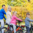 Family on bicycles - Foto Stock