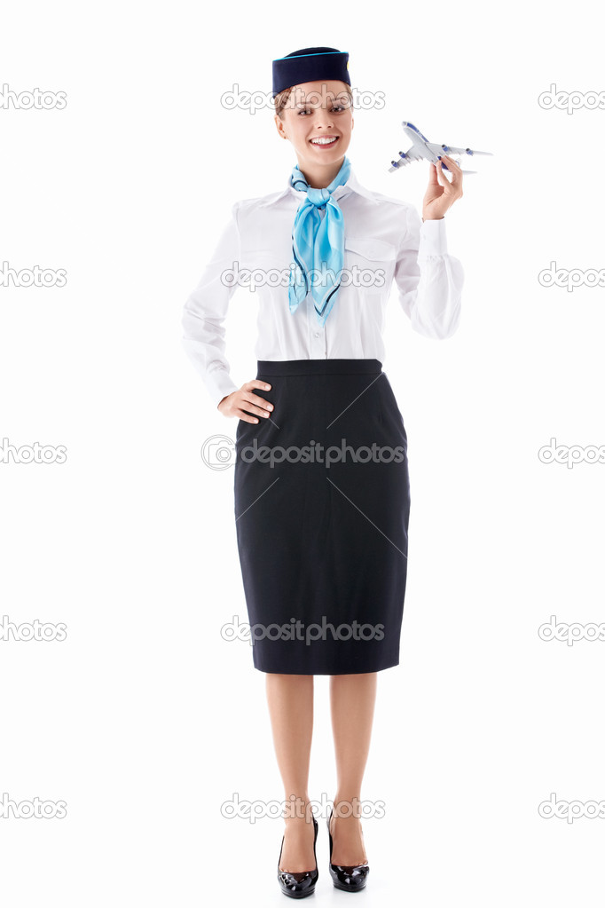 Stewardess in uniform on a white background — Stock Photo #9683655