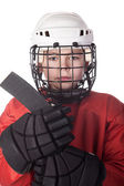 Portrait of a young ice hockey player — Stock Photo
