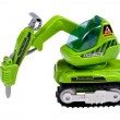 Toy excavator on white - Stock Photo