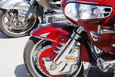 Motor cycle engine and bike reflected in a chromium-plated surfa — Stock Photo