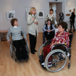 With disabilities at an exhibition of contemporary art — Stock Photo