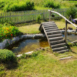 Small garden pond with wooden bridge — Stock Photo #8031272