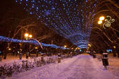 Decorated winter city park — Stock Photo