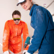 Construction workers at work — Stock Photo