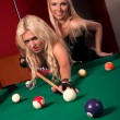 Happy girls playing in billiard — Stock Photo #8928077