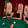Royalty-Free Stock Photo: Group of happy girls playing in billiard