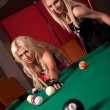 Happy girls playing in billiard — Stock Photo #8928088