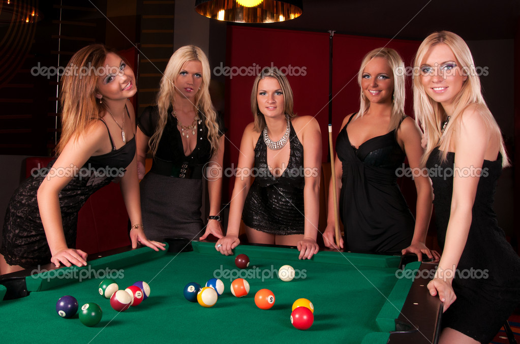 three ladies are playing billiards and having unforgettable threesome  24037