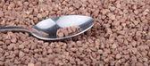 Buckwheat background and teaspoon — Stock Photo