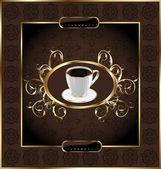 Wzór etykiety do pakowania kawy, kwiatowy tekstura — Wektor stockowy