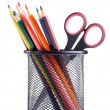 Pencils and scissors in the container — Stock Photo #8042437