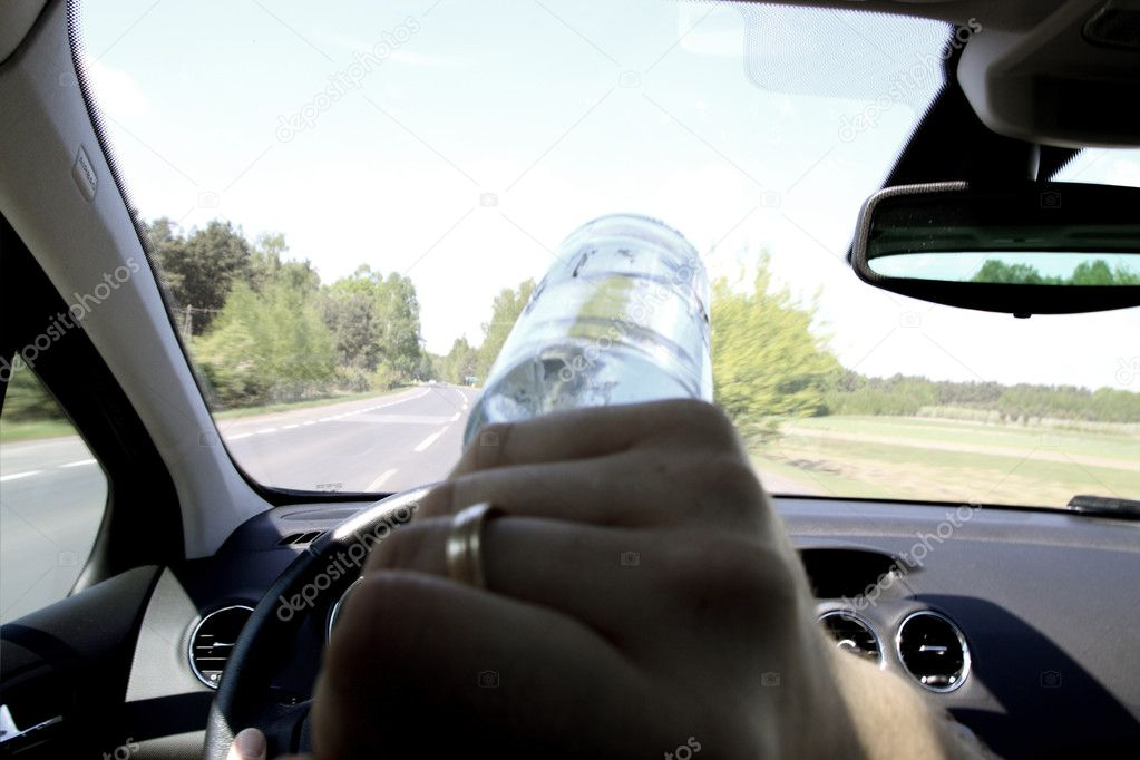Drunk guy drives a car — Stock Photo #10563922