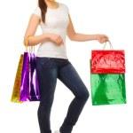 młoda kobieta z torby — Zdjęcie stockowe #10448933