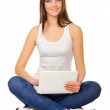 Young girl with laptop — Stock Photo #8549211