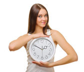 Young girl with clock — Stock Photo