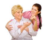 Kızıyla birlikte kadın kıdemli — Stok fotoğraf