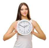 Young girl with clocks — Stock Photo