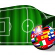 European flags ball on soccer field over white — Stock Photo