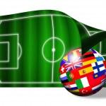 European flags ball on soccer field over white — Stock Photo