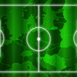 Soccer field with white lines europe green map background - Stock Photo