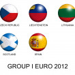 Soccer balls with european flags of group I euro 2012 over white — Stock Photo