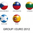 Soccer balls with european flags of group I euro 2012 over white — Stock Photo #8924489