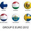 Soccer balls with european flags of group E euro 2012 over white — Stock Photo