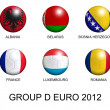 Soccer balls with european flags of group D euro 2012 over white — Stock Photo