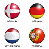 Soccer balls with european flags of group B euro 2012 over white — Stock Photo
