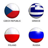 Soccer balls with european flags of group A euro 2012 over white — Stock Photo