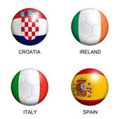 Soccer balls with european flags of group C euro 2012 over white — Stock Photo
