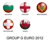 Soccer balls with european flags of group G euro 2012 over white — Stock Photo