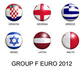 Soccer balls with european flags of group F euro 2012 over white — Stock Photo