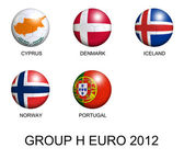 Soccer balls with european flags of group H euro 2012 over white — Stock Photo