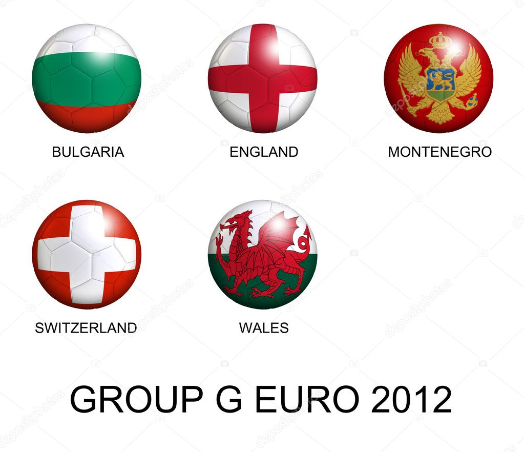 Soccer balls with european flags of group G euro 2012 over white background — Stock Photo #8924682