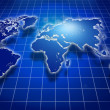 Shining blue world map over dark — Stock Photo #9319564