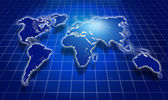 Shining blue world map over dark — Stock Photo