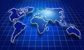Shining blue world map over dark — Stock Photo