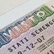 Stock Photo: Schengen visa in passport
