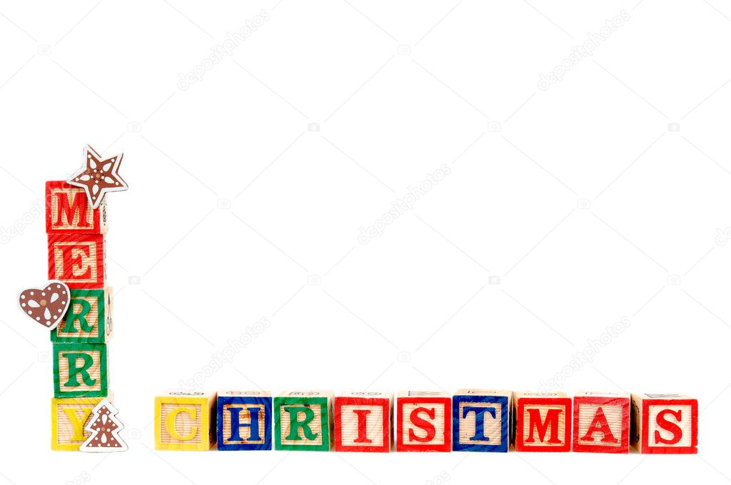 Merry Christmas in colorful children's block letters isolated on white background. — Stock Photo #8167609