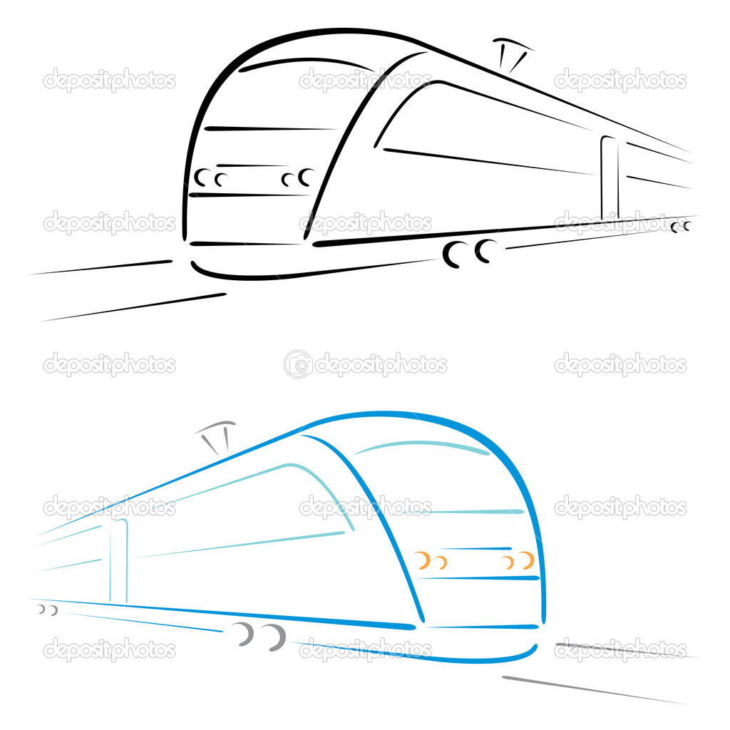 Shape of fast modern train on white — Stock Vector #9294217