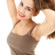 Casual girl with raised arms — Stock Photo #10021405