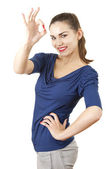 Young attractive woman showing ok — Stock Photo