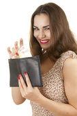 Femme joung heureux avec l'argent — Photo