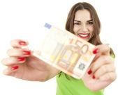 Attractive girl keeping 50 euro — Stock Photo