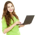 Young woman working on laptop — Stock Photo